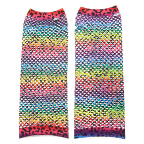 Rainbow Leopard Print Fishnet Arm Warmers,