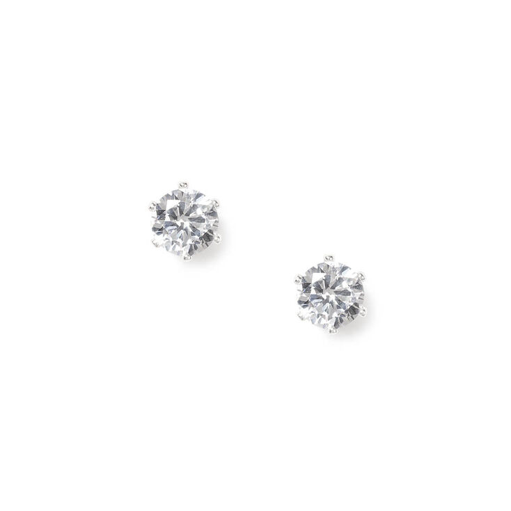 7MM Cubic Zirconia Brilliant Cut Stud Earrings,