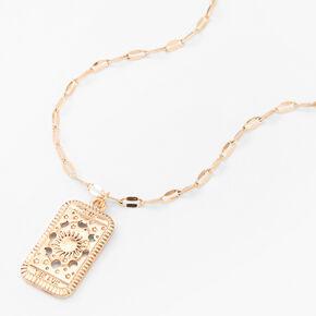 Gold Sun Tarot Rectangle Pendant Necklace,