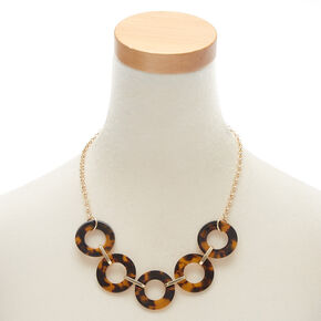 Gold Round Link Resin Tortoiseshell Statement Necklace - Brown,