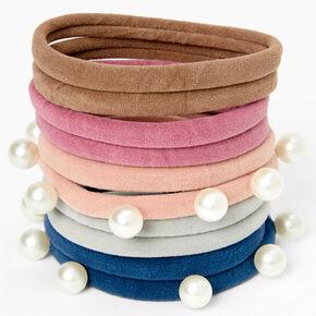 Multicolored Pearl Rolled Hair Ties - 10 Pack,