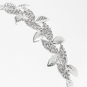 Silver Sleek Rhinestone Pave Leaf Headband,