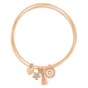 Rose Gold Romantic Filigree Charm Bracelets - 3 Pack,
