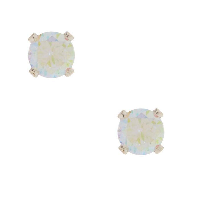 5MM Iridescent Cubic Zirconia Stud Earrings,