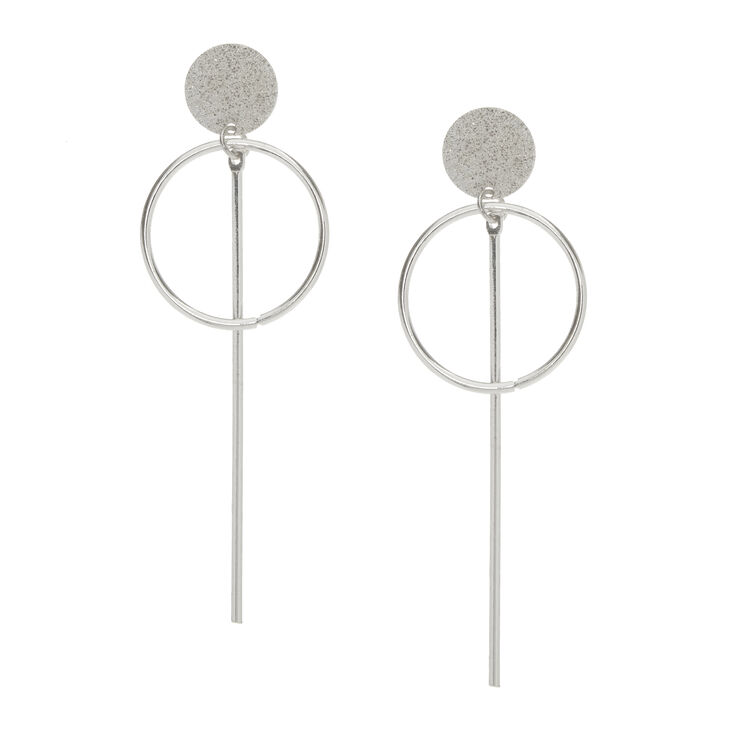 Silver-Tone Geometric Drop Stud Earrings,