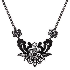 Crochet Flower Statement Necklace - Black,