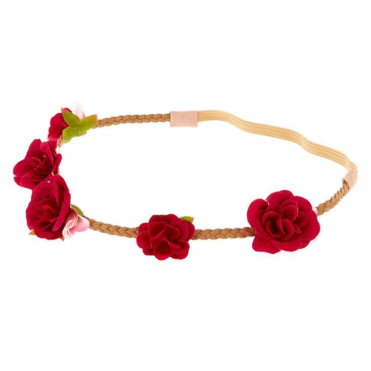 Ruby Rose Braided Flower Crown Headwrap - Burgundy,