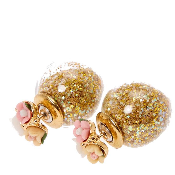 Carved Flower  Shimmer Front & Back Gold Stud Earrings,