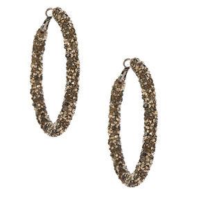 Hematite 60MM Crystal Hoop Earrings,