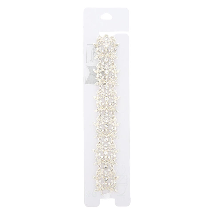 2-In-1 Silver Glass Rhinestone Belt & Headwrap,