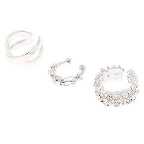 Silver Crystal Ball Ear Cuffs - 3 Pack,