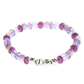 Wish Beaded Stretch Bracelet - Purple,