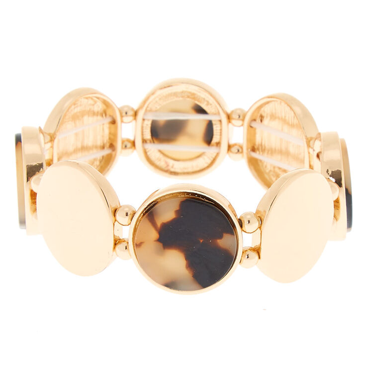 Gold Resin Tortoiseshell Stretch Bracelet - Brown,