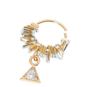 Triangle Faux Crystal Cartilage Hoop,