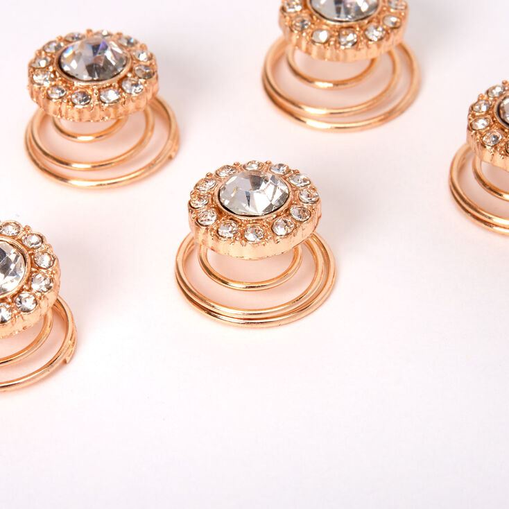 Rose Gold Rhinestone Halo Hair Spinners - 6 Pack,