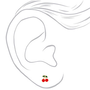 Sterling Silver Gold Cherry Stud Earrings - Red,