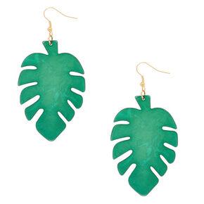 """Gold 3"""" Palm Leaf Drop Earrings - Green,"""