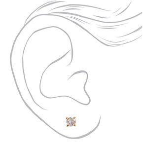 18kt Gold Plated Cubic Zirconia Small Graduated Round Stud Earrings - 3 Pack,
