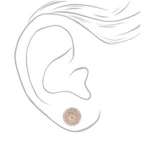 Mixed Metal Crystal Stud Earrings,