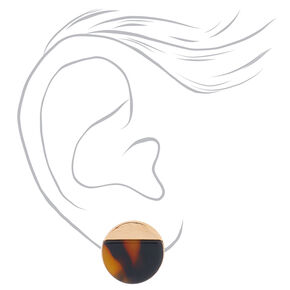 Gold Tortoiseshell Stud Earrings - Brown,