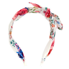 Rose Print Bow Headband - White,