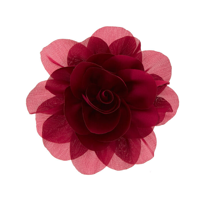 Burgundy Bridal Flower Hair Clip,