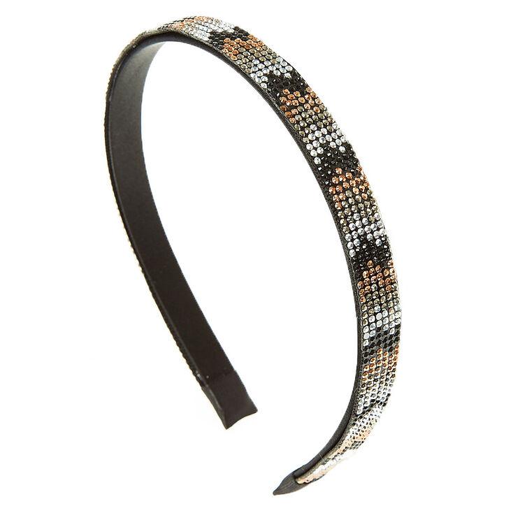 Mixed Metal Bead Chevron Print Headband,