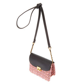 Tweed Crossbody Bag - Pink,