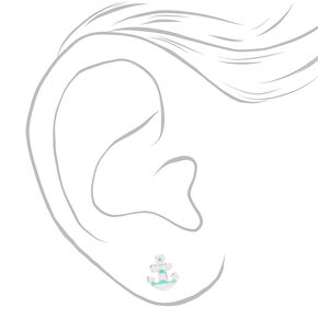Sterling Silver Striped Anchor Stud Earrings - Blue,