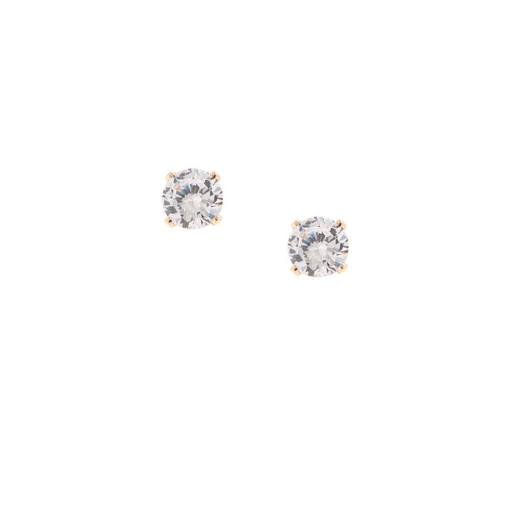 18KT Gold Plated Sterling Silver Martini Set 5MM Round Cubic Zirconia Stud Earrings,