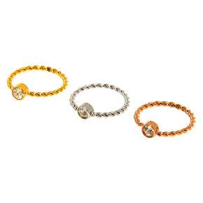 Mixed Metal 20G Twisted Crystal Cartilage Hoop Earrings - 3 Pack,
