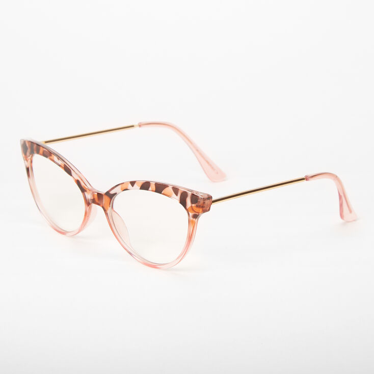 Blush Tortoiseshell Cat Eye Clear Lens Frames,