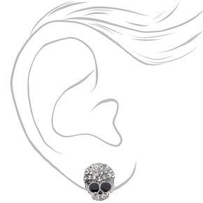 Silver Embellished Skull Stud Earrings,