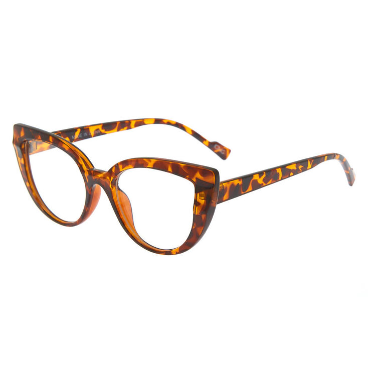 Tortoiseshell Cat Eye Clear Lens Frames - Brown,
