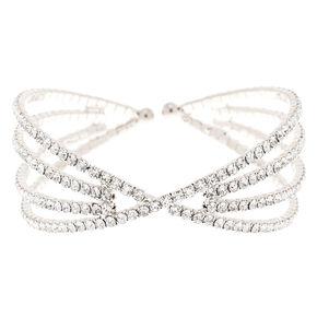 Silver Rhinestone Hourglass Cuff Bracelet,