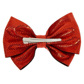 Chevron Glitter Hair Bow Clip - Red,