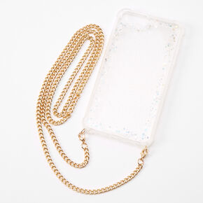 Iridescent Glitter Phone Case with Gold Chain - Fits iPhone 6/7/8 Plus,