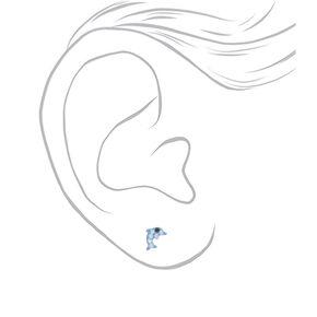 Sterling Silver Pastel Crystal Dolphin Stud Earrings,