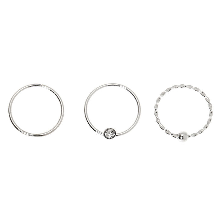 Sterling Silver 22G Crystal Twist Hoop Nose Rings - 3 Pack,