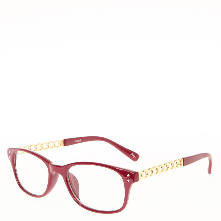 Wine Colored Frames with Gold Chain Arms | Icing US