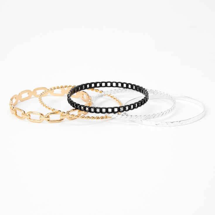 Mixed Metal Braided Chain Link Bangle Bracelets - 5 Pack,