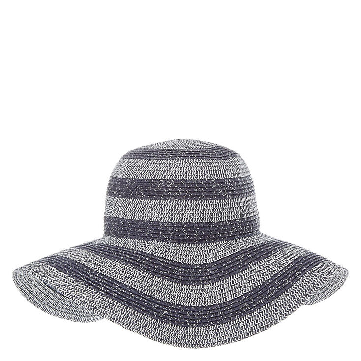 2c39c752be0 Gray Tinsel Striped Floppy Straw Hat
