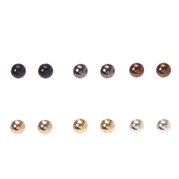 Mixed Metal Small Dome Stud Earrings,