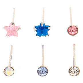 Sterling Silver 22G Pastel Star Nose Studs - 6 Pack,