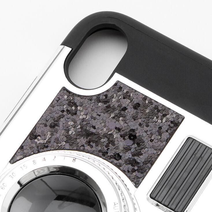 Black Glitter Camera Phone Case - Fits iPhone XR,