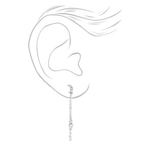 """Silver 1.5"""" Celestial Cross Front and Back Chain Drop Earrings - 3 Pack,"""