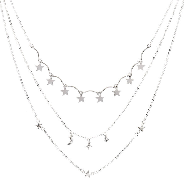 Silver Stars Multi Strand Necklace,