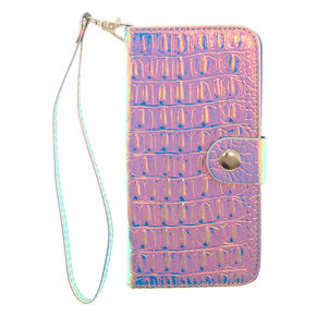 Holographic Crocodile Skin Folio Phone Case,