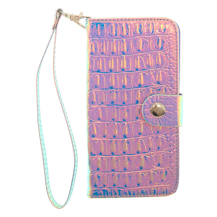 Holographic Crocodile Skin Folio Phone Case - Fits iPhone X/XS,