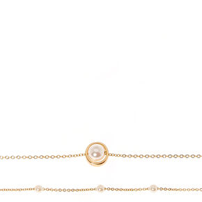 White Faux Pearl Gold Tone Chain Choker Necklaces,